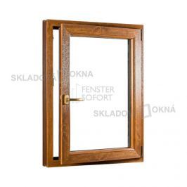 Skladova-okna Jednokřídlé plastové okno PREMIUM otvíravo-sklopné pravé 800 x 1200 mm barva bílá/zlatý dub