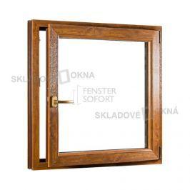SKLADOVA-OKNA.cz, Jednokřídlé plastové okno PREMIUM, otvíravo-sklopné pravé, 950 x 1100 mm, barva bílá/zlatý dub
