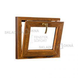 Skladova-okna Sklopné plastové okno PREMIUM 600 x 550 mm barva bílá/zlatý dub