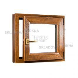 Skladova-okna Jednokřídlé plastové okno PREMIUM otvíravo-sklopné pravé 650 x 650 mm barva bílá/zlatý dub