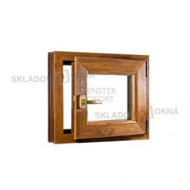 SKLADOVA-OKNA.cz, Jednokřídlé plastové okno PREMIUM, otvíravo-sklopné pravé, 500 x 500 mm, barva bílá/zlatý dub