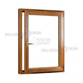 SKLADOVA-OKNA.cz, Jednokřídlé plastové okno PREMIUM, otvíravo-sklopné pravé, 950 x 1400 mm, barva bílá/zlatý dub
