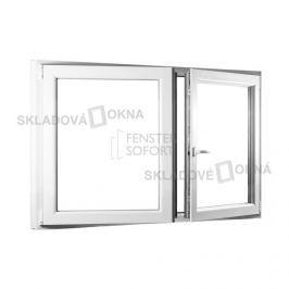 SKLADOVA-OKNA.cz, Dvoukřídlé plastové okno se štulpem PREMIUM, 1450 x 1100 mm, barva bílá