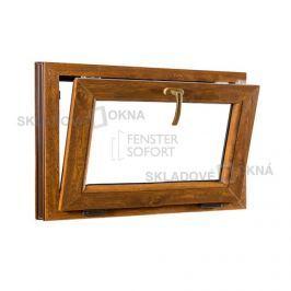 SKLADOVA-OKNA.cz, Sklopné plastové okno PREMIUM, 750 x 550 mm, barva bílá/zlatý dub