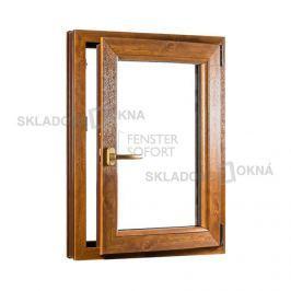SKLADOVA-OKNA.cz, Jednokřídlé plastové okno PREMIUM, otvíravo-sklopné pravé, 650 x 1000 mm, barva bílá/zlatý dub