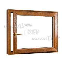 Skladova-okna Jednokřídlé plastové okno PREMIUM otvíravo-sklopné pravé 1100 x 1000 mm barva bílá/zlatý dub