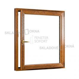 SKLADOVA-OKNA.cz, Jednokřídlé plastové okno PREMIUM, otvíravo-sklopné pravé, 1100 x 1400 mm, barva bílá/zlatý dub
