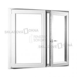 SKLADOVA-OKNA.cz, Dvoukřídlé plastové okno se štulpem PREMIUM, 1250 x 1300 mm, barva bílá