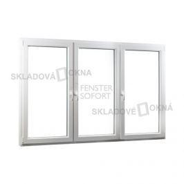 SKLADOVA-OKNA.cz, Trojkřídlé plastové okno se sloupkem PREMIUM, 2060 x 1540, barva bílá