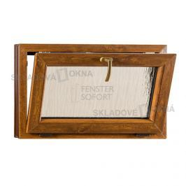 Skladova-okna Sklopné plastové okno PREMIUM sklo kůra 900 x 550 barva bílá/zlatý dub