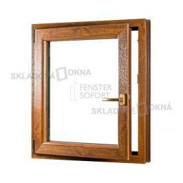 SKLADOVA-OKNA.cz, Jednokřídlé plastové okno PREMIUM, otvíravo-sklopné levé - SKLADOVÁ-OKNA.cz - 800 x 1000 mm, barva bílá/zlatý dub