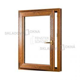 Skladova-okna Jednokřídlé plastové okno PREMIUM otvíravo-sklopné levé 800 x 1200 mm barva bílá/zlatý dub