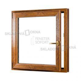 SKLADOVA-OKNA.cz, Jednokřídlé plastové okno PREMIUM, otvíravo-sklopné levé, 950 x 1100 mm, barva bílá/zlatý dub