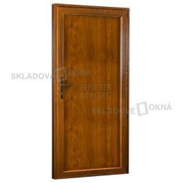 Skladova-okna Vedlejší vchodové dveře PREMIUM 323 plné pravé 980 x 2080 mm bílá/zlatý dub