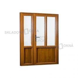 Skladova-okna Vedlejší vchodové dveře dvoukřídlé pravé PREMIUM 1480 x 2080 mm barva bílá/zlatý dub