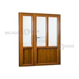Skladova-okna Vedlejší vchodové dveře dvoukřídlé pravé PREMIUM 1580 x 2080 mm barva bílá/zlatý dub