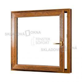 Skladova-okna Jednokřídlé plastové okno PREMIUM otvíravo-sklopné levé 1100 x 1200 barva bílá/zlatý dub