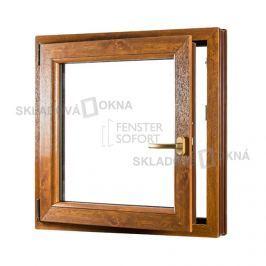 Skladova-okna Jednokřídlé plastové okno PREMIUM otvíravo-sklopné levé 800 x 900 mm barva bílá/zlatý dub