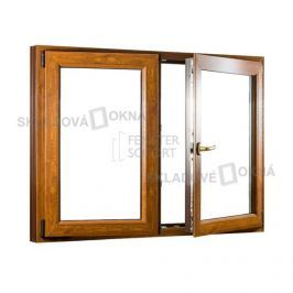 Skladova-okna Dvoukřídlé plastové okno se štulpem PREMIUM 1250 x 1100 mm barva bílá/zlatý dub