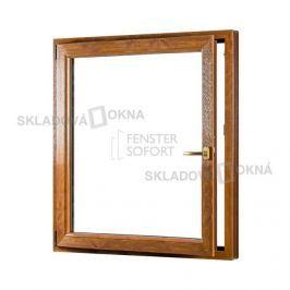 SKLADOVÁ-OKNA.cz, Jednokřídlé plastové okno PREMIUM, otvíravo-sklopné levé, 1100 x 1400 mm, barva bílá/zlatý dub