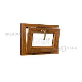 Skladova-okna Sklopné plastové okno PREMIUM 490 x 400 mm barva bílá/zlatý dub