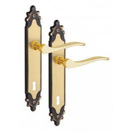 Rostex Harmonie štítové dveřní kování - klika-knoflík pro klíč 90mm Ti
