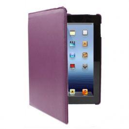 Kožený kryt / pouzdro Rotation Litchi pro iPad 2 / 3 / 4 fialový