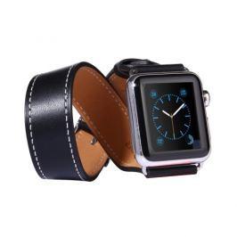 Kožený pásek / řemínek Double Circle pro Apple Watch 42mm černý