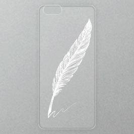 Výměnné akrylové sklo iSaprio Alu pro iPhone 6 / 6S - Writing By Feather - white