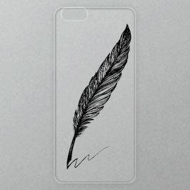 Výměnné akrylové sklo iSaprio Alu pro iPhone 6 / 6S - Writing By Feather - black