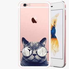 Kryt na mobil iSaprio Alu Rose Gold pro iPhone 6 / 6S - Crazy Cat 01