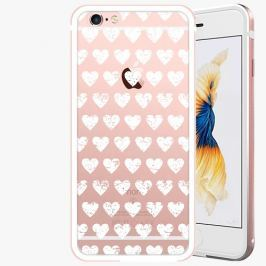 Kryt na mobil iSaprio Alu Rose Gold pro iPhone 6 / 6S - Hearths Pattern - white