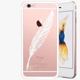 Kryt na mobil iSaprio Alu Rose Gold pro iPhone 6 / 6S - Writing By Feather - white