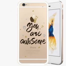 Kryt na mobil iSaprio Alu Gold pro iPhone 6 / 6S - You Are Awesome - black
