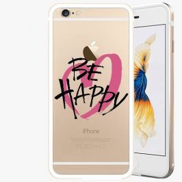 Kryt na mobil iSaprio Alu Gold pro iPhone 6 / 6S - Be Happy - black