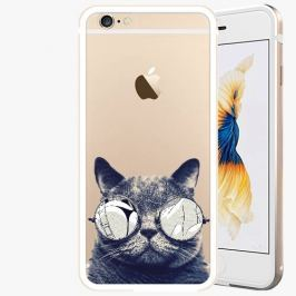 Kryt na mobil iSaprio Alu Gold pro iPhone 6 / 6S - Crazy Cat 01