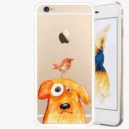 Kryt na mobil iSaprio Alu Gold pro iPhone 6 / 6S - Dog And Bird