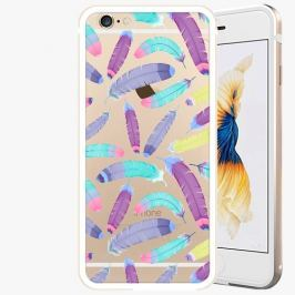 Kryt na mobil iSaprio Alu Gold pro iPhone 6 / 6S - Feather Pattern 01