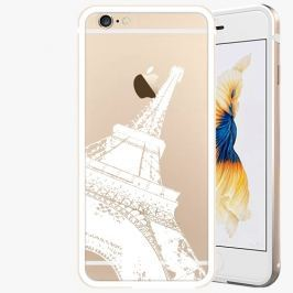Kryt na mobil iSaprio Alu Gold pro iPhone 6 / 6S - Paris - white