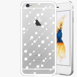 Kryt na mobil iSaprio Alu Silver pro iPhone 6 / 6S - Abstract Dots 01 - white