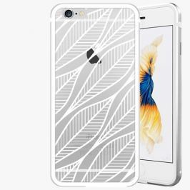 Kryt na mobil iSaprio Alu Silver pro iPhone 6 / 6S - Leafs 01 - white