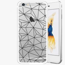 Kryt na mobil iSaprio Alu Silver pro iPhone 6 / 6S - Abstract Triangles 03 - black