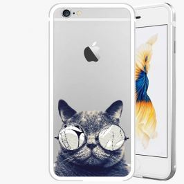 Kryt na mobil iSaprio Alu Silver pro iPhone 6 Plus / 6S Plus - Crazy Cat 01