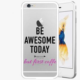Kryt na mobil iSaprio Alu Silver pro iPhone 6 Plus / 6S Plus - Awesome Coffe - black