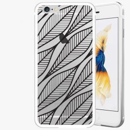 Kryt na mobil iSaprio Alu Silver pro iPhone 6 Plus / 6S Plus - Leafs 01 - black