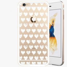 Kryt na mobil iSaprio Alu Gold pro iPhone 6 Plus / 6S Plus - Hearths Pattern - white