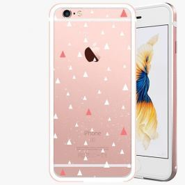 Kryt na mobil iSaprio Alu Rose Gold pro iPhone 6 Plus / 6S Plus - Abstract Triangles 02 - white
