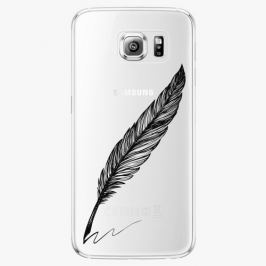Plastový kryt iSaprio - Writing By Feather - black - Samsung Galaxy S6 Edge Plus